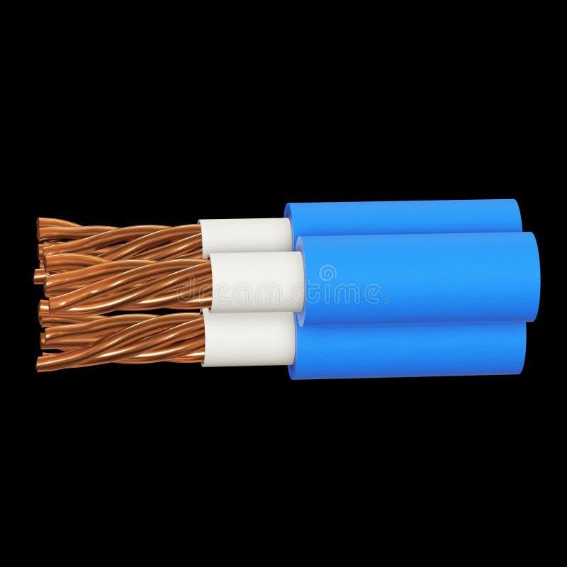 Kopparelektrisk kabel 3d royaltyfri illustrationer