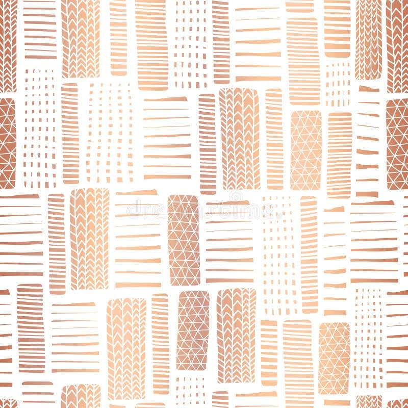 Kopparfolie texturerad sömlös vektormodell för rektangel Handen dragit rosa guldabstrakt begrepp formar på vit bakgrund Baner pag royaltyfri illustrationer