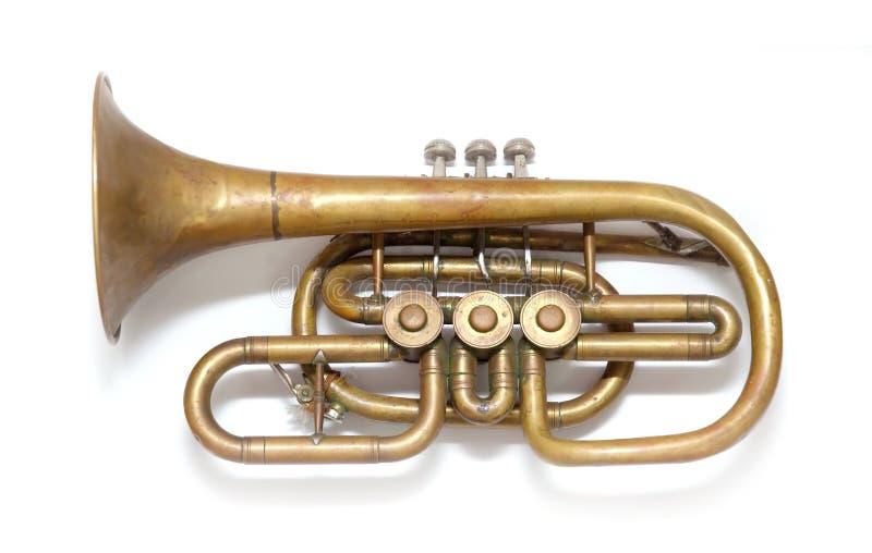 koppargammal trumpettappning arkivfoton