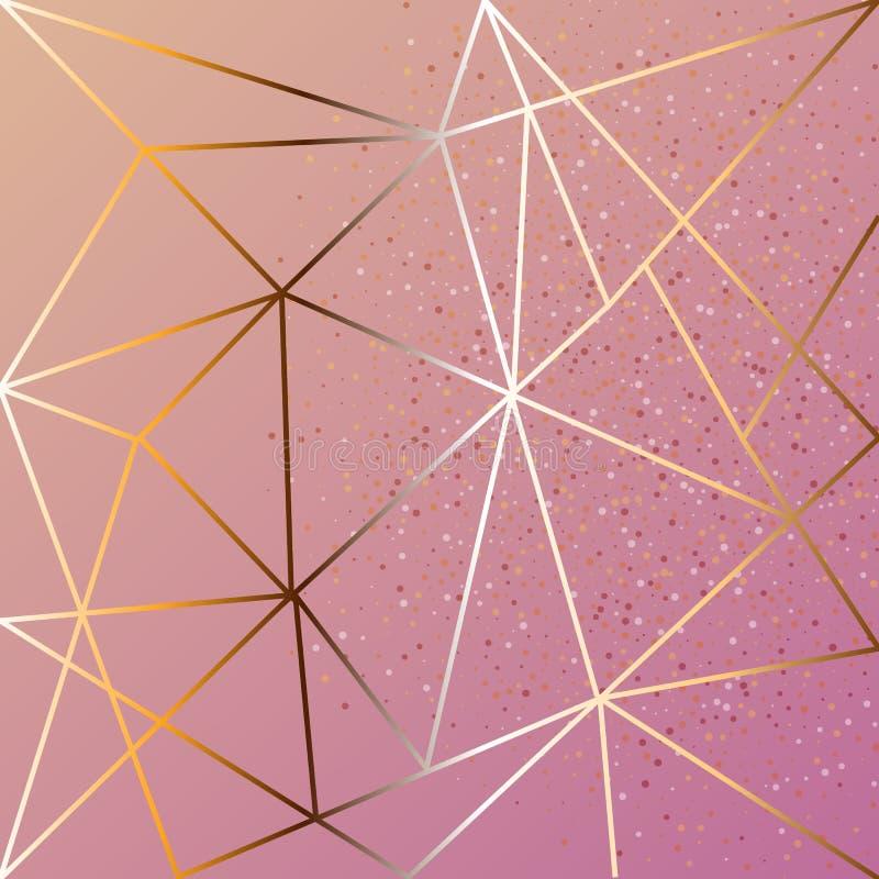 Kopparmetallisk polygonal textur med brons blänker geometriska och diamantformer för trianglar, stock illustrationer