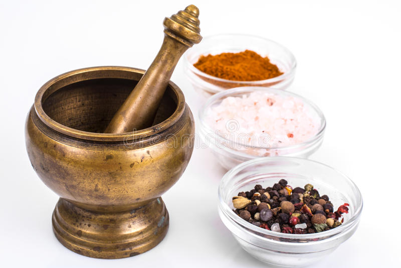 Kopparmortel för kryddor arkivbild