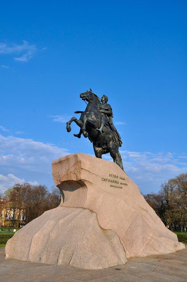kopparskicklig ryttare St Petersburg royaltyfri foto