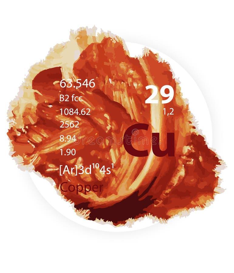 Kopparsymbol - vattenfärgmålarfärg - emblemstil vektor illustrationer