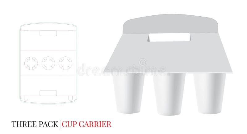 Koppbäraremall, för pappöl för tre packe bärare Vektorn med stansat/laser klippte lager vektor illustrationer