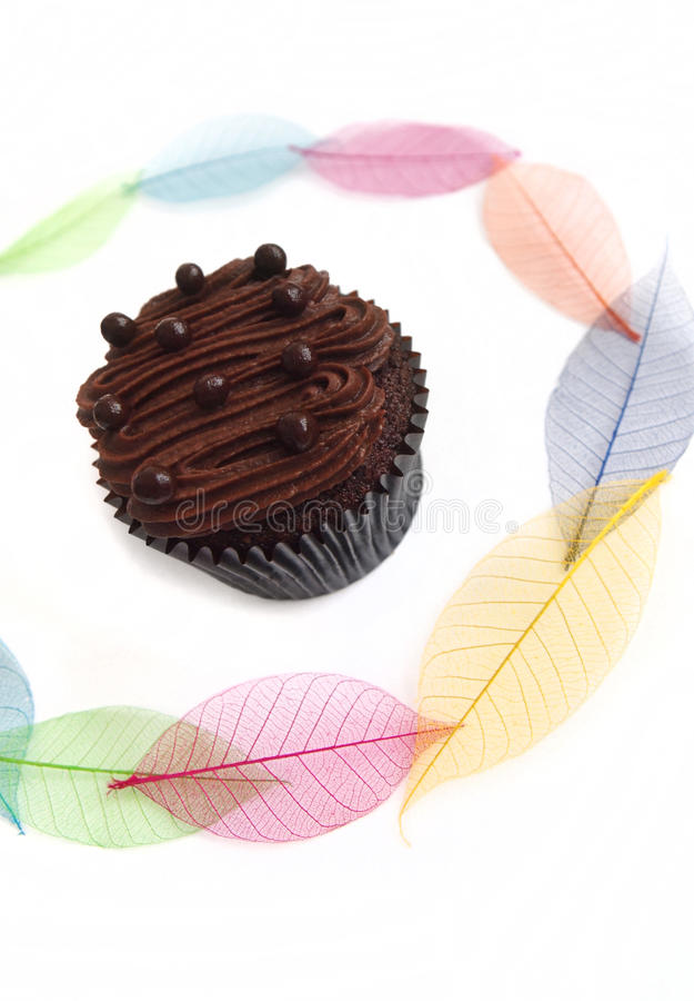 Koppcake med nätt leavesbakgrund royaltyfri fotografi