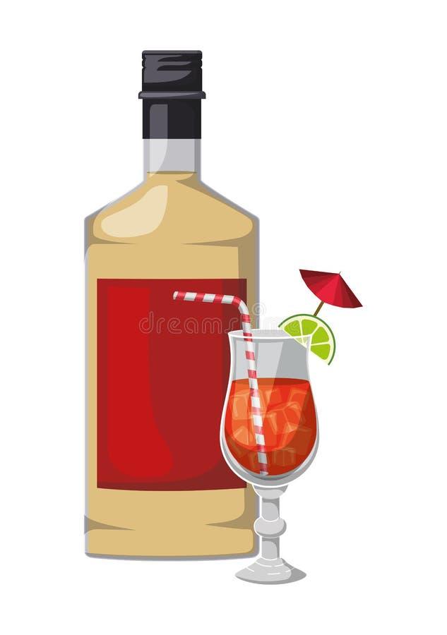 Koppcoctaildrink med flaskan royaltyfri illustrationer