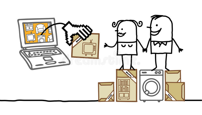 Koppel online kopend meubilair vector illustratie