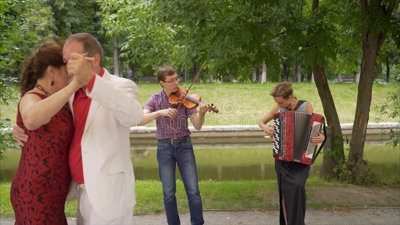 Koppelen de bejaarden het dansen tango in het park royalty-vrije stock afbeelding