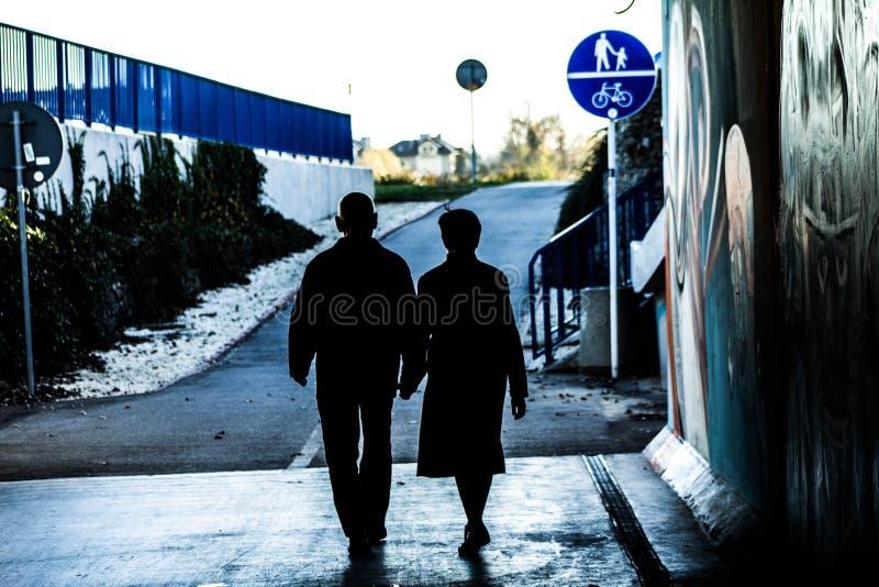 Koppelen de bejaarden holdingshanden op de straat Dit is liefde! royalty-vrije stock foto