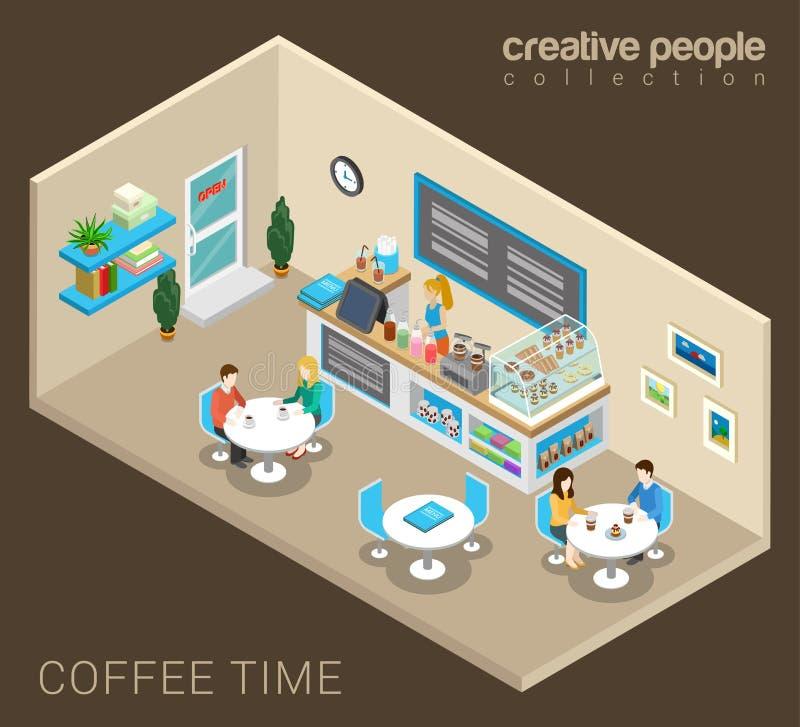 Koppelt het drinken koffie in koffie in vector isometrisch royalty-vrije illustratie