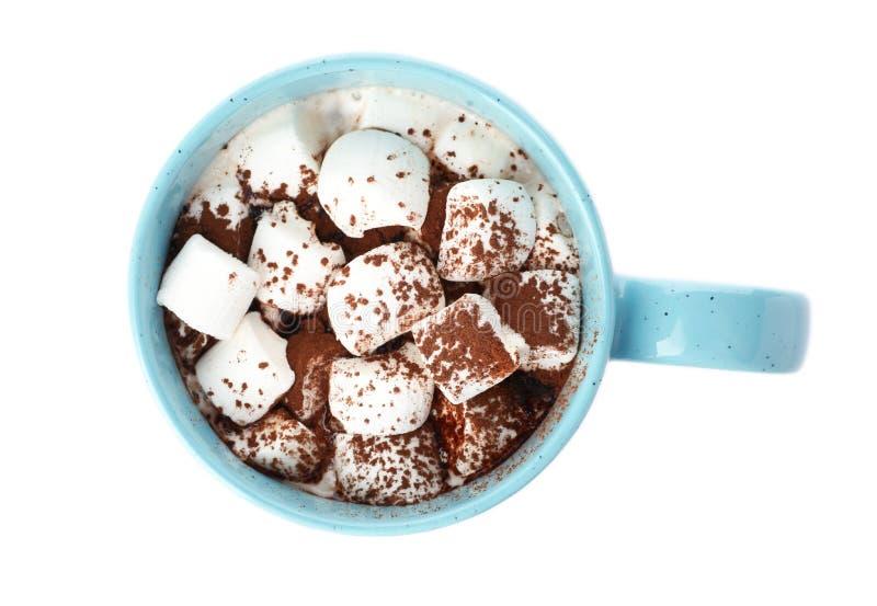 Koppen av choklad mjölkar med marshmallower som isoleras på vit royaltyfria foton