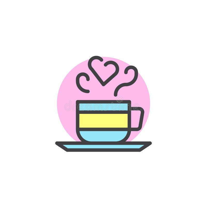 Koppen av den varma drinken med hjärtaformånga fyllde översiktssymbolen vektor illustrationer