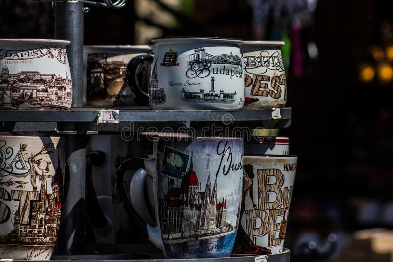 Koppen in Boedapest stock afbeeldingen