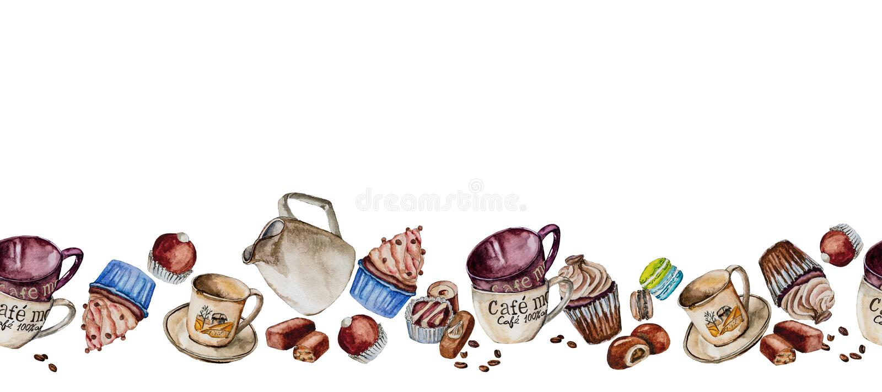Koppen, cupcakes en suikergoed in waterverf worden geschilderd die royalty-vrije stock foto's