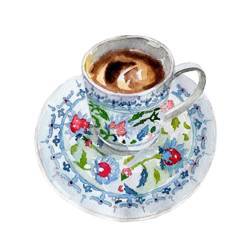 Koppen för turkiskt kaffe som isoleras på vit bakgrund, vattenfärgillustration royaltyfri illustrationer
