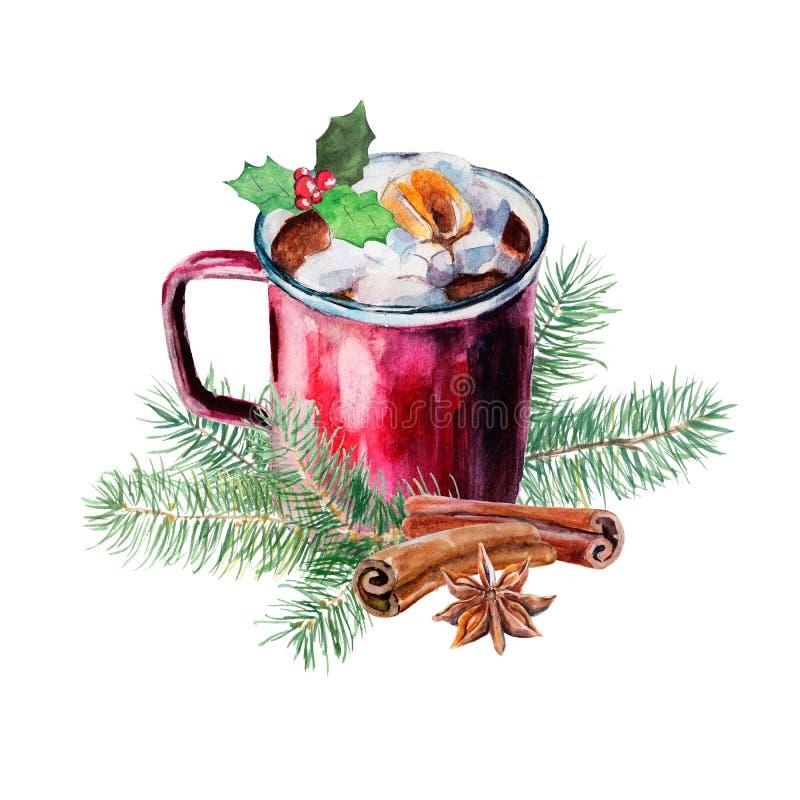 Koppen kaffe med sefir, järnek, anis, kanel och granen förgrena sig Vattenfärg hand-dragit objekt som isoleras på vit stock illustrationer