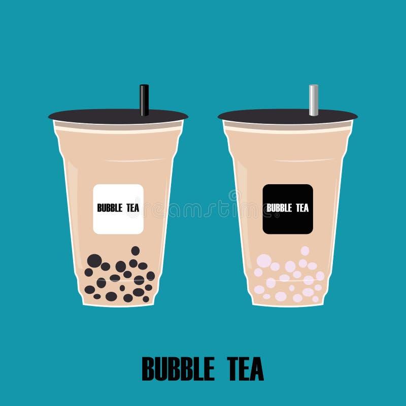 Koppen med bubblate Tecknade filmen mjölkar te med tapiokapärlan Taiwanesisk populär kall drink för bubblate ocks? vektor f?r cor vektor illustrationer