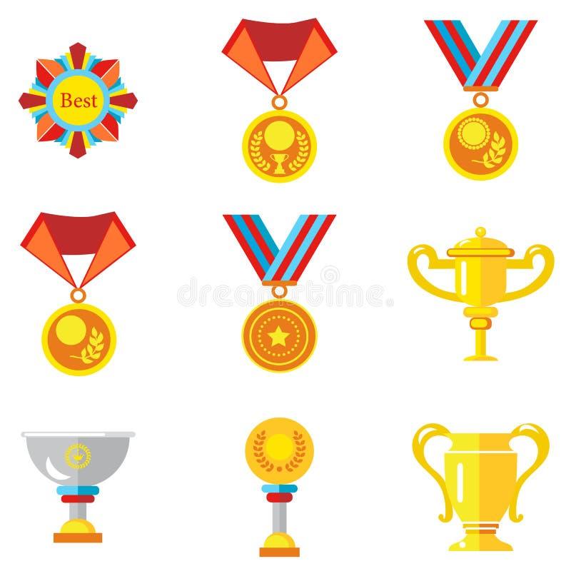 Koppen, medailles, toekenning Vectorpictogrammen in een vlakke stijl op een witte achtergrond stock illustratie