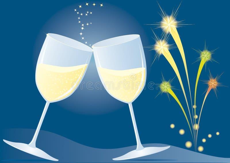 Koppen met champagne en vuurwerk royalty-vrije illustratie