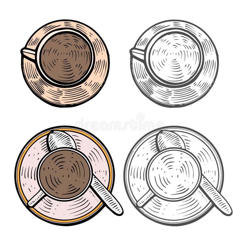 Koppen met hete koffie royalty-vrije illustratie