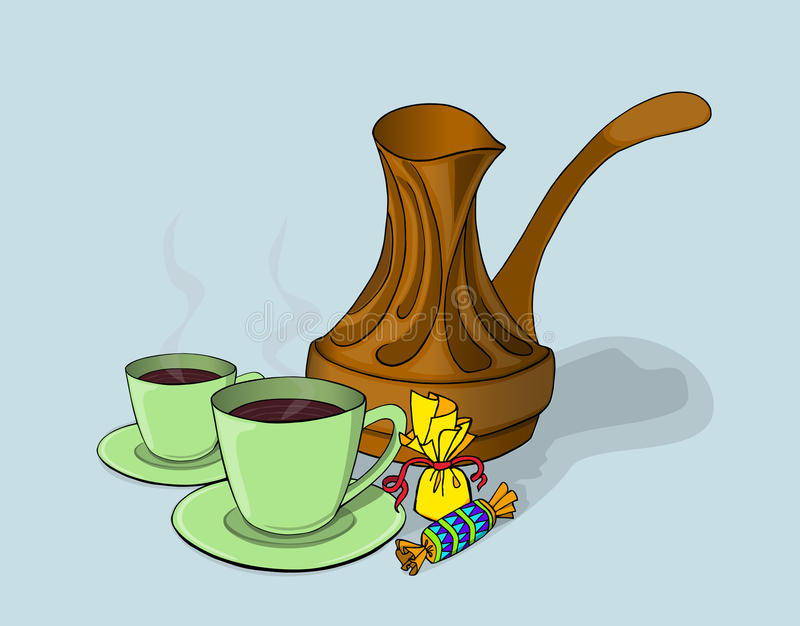 Koppen met uitstekend koffiezetapparaat royalty-vrije stock afbeeldingen