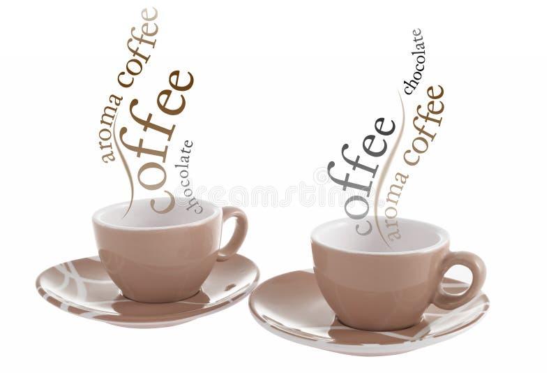 Koppen van hete koffie stock foto's