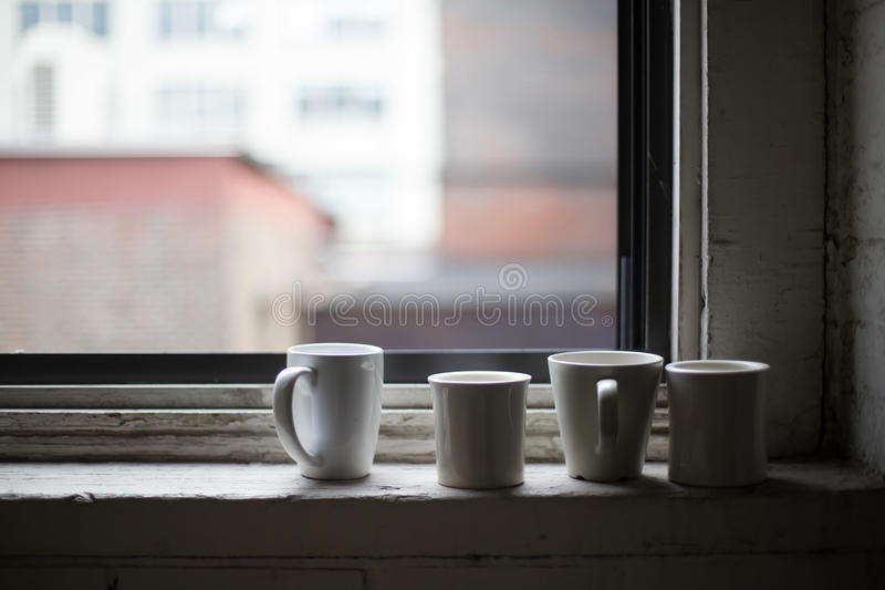 Koppen van koffie en thee stock afbeeldingen