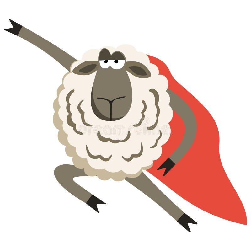 Koppige Lamssuperhero met rode mantel Vector stock illustratie