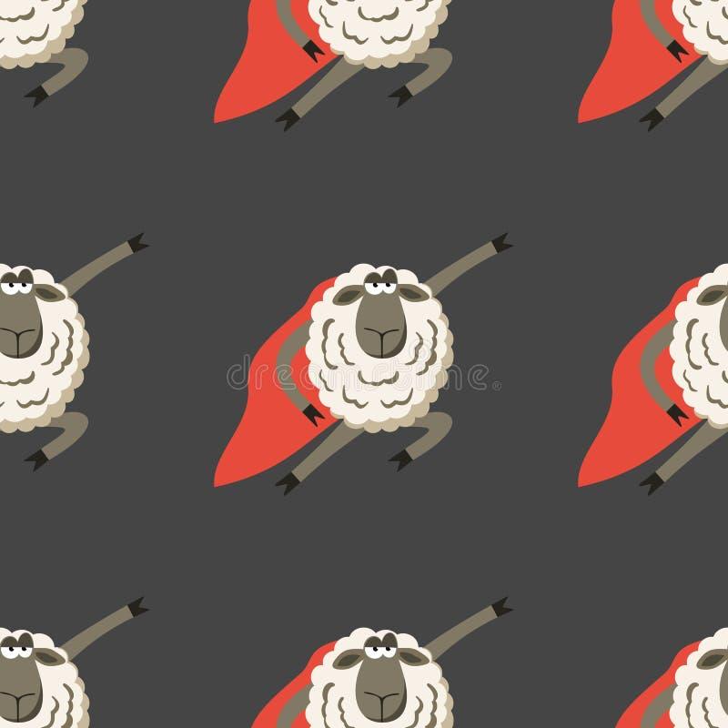 Koppige Lamssuperhero met rode mantel Vector vector illustratie