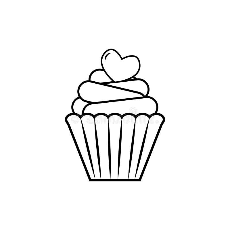 Koppkaka med hj?rtavektorsymbolen royaltyfri illustrationer