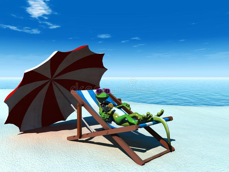 koppla av för gecko för strandtecknad film kallt royaltyfri illustrationer