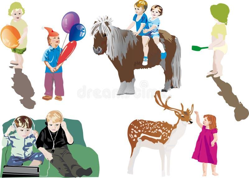 koppla av för illustration för barn olikt vektor illustrationer
