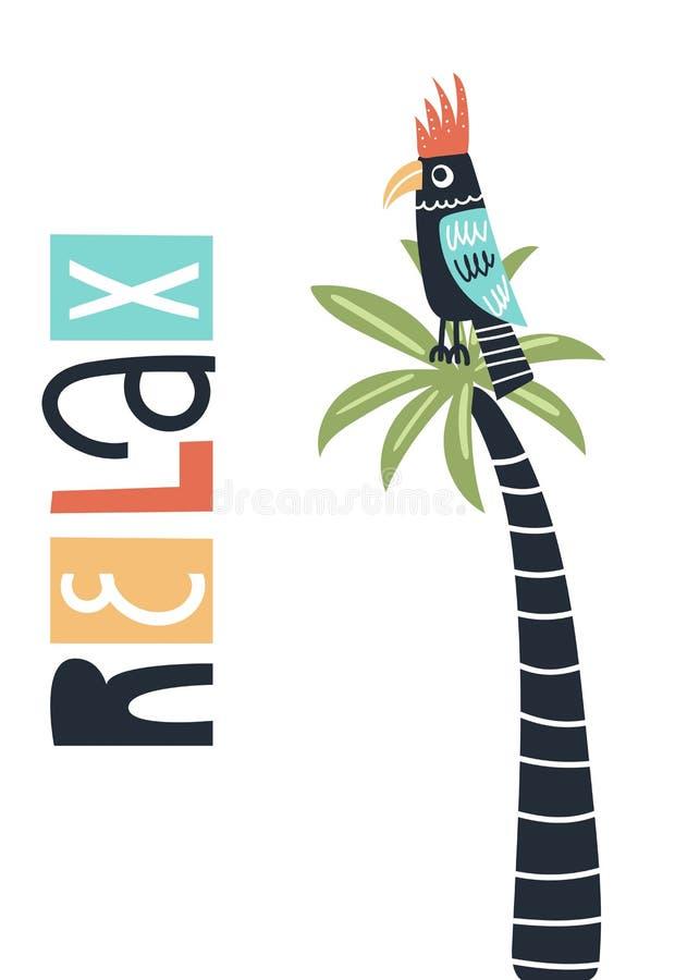 Koppla av gulligt, och roliga ungar räcker den utdragna barnkammareaffischen med papegojafågeln på en palmträd och en bokstäver vektor illustrationer