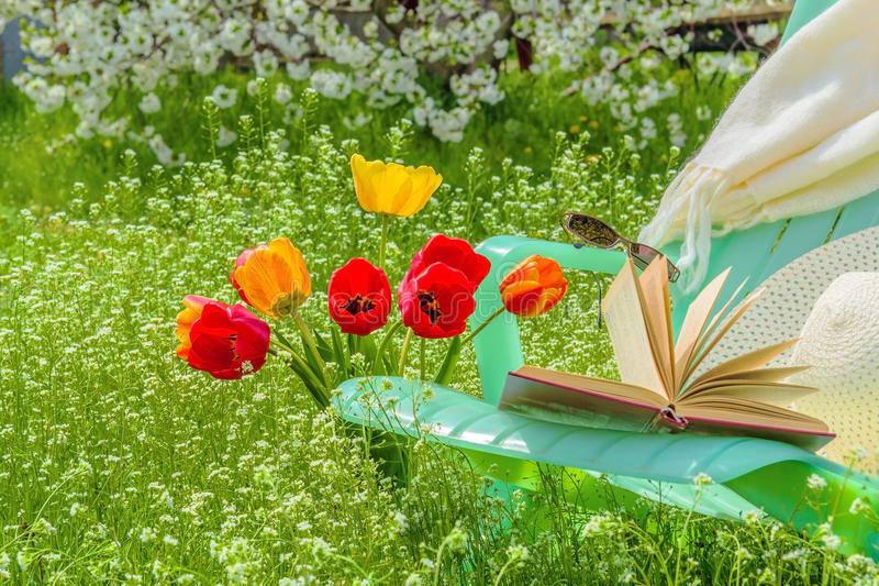 Koppla av i trädgården i en solig vårdag royaltyfri foto