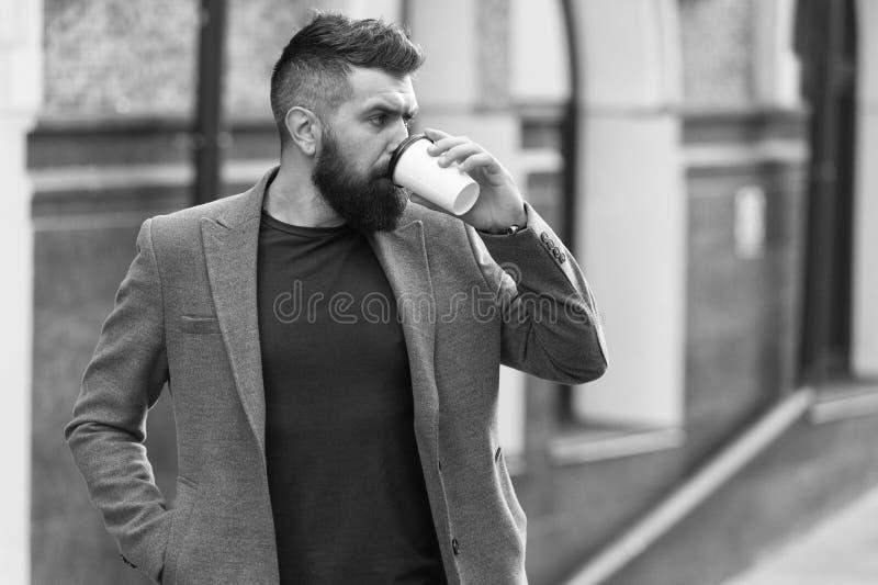 Koppla av och ladda upp Sk?ggig hipster f?r man som dricker kaffepapperskoppen En mer smutt av kaffe Dricka kaffe p? g? royaltyfria bilder
