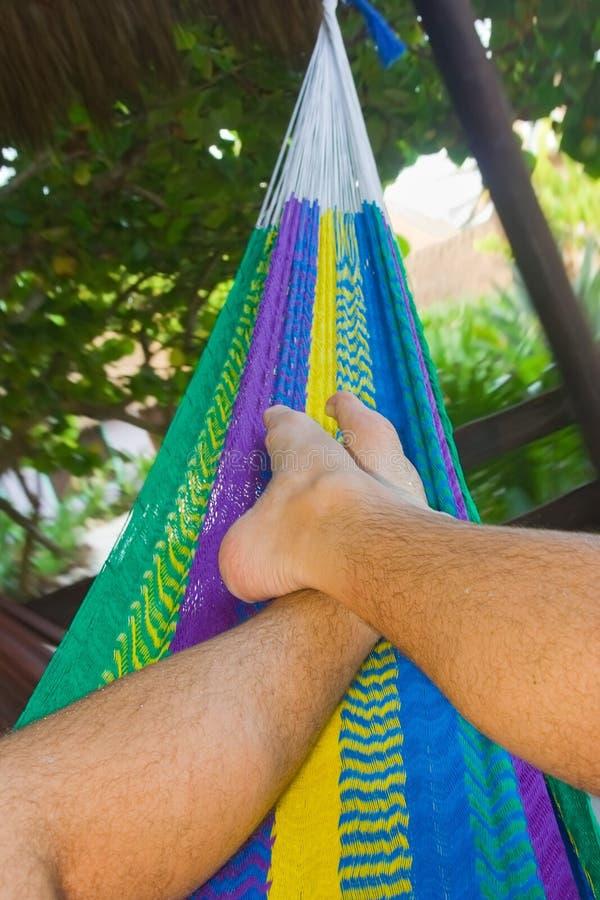 Koppla av på en färgrik hängmatta i en tropisk trädgård arkivfoton