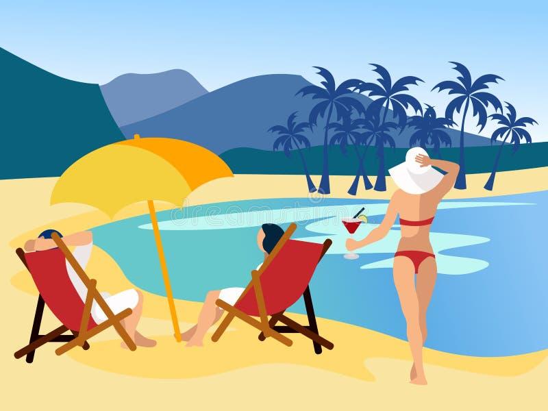 Koppla av på stranden Dra en dröm, folk på havet, en öde ö I plan vektor för minimalist stiltecknad film stock illustrationer