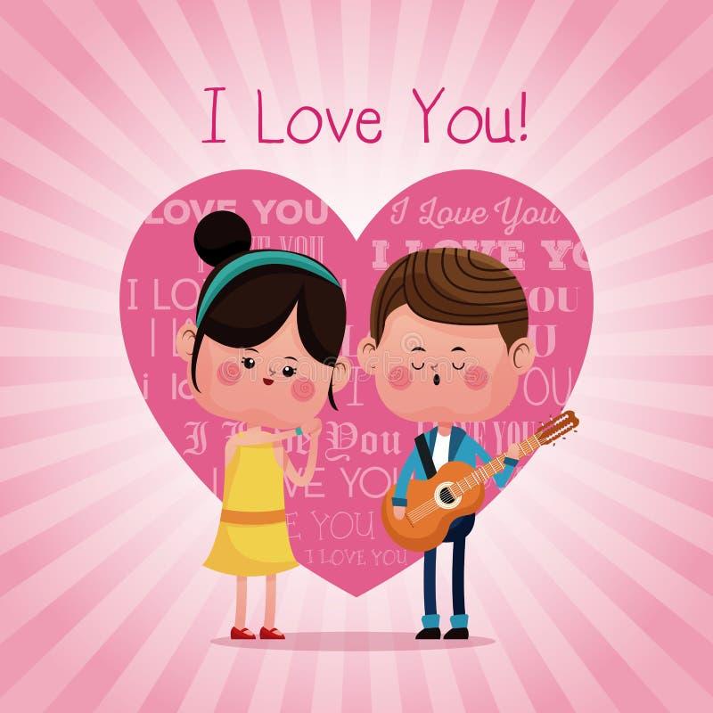 Koppla ihop älska serenading mig älskar dig rosa hjärtabakgrund vektor illustrationer