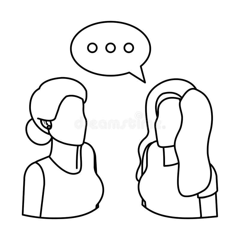 Koppla ihop affärskvinnor med anförandebubblan royaltyfri illustrationer