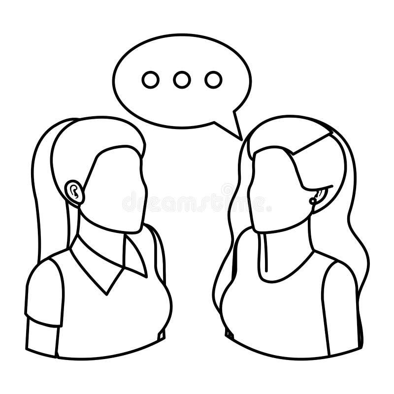 Koppla ihop affärskvinnor med anförandebubblan stock illustrationer