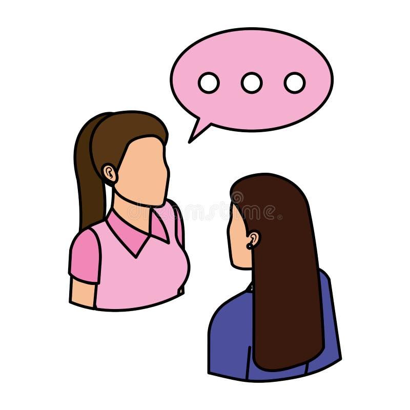Koppla ihop affärskvinnor med anförandebubblan vektor illustrationer