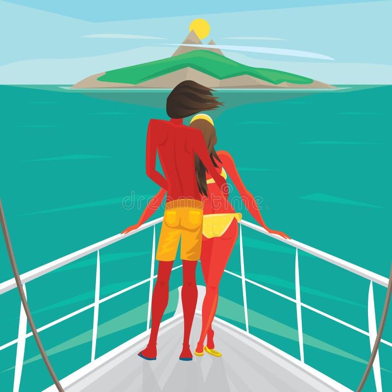 Koppla ihop anseendet på en yacht och beundra ön vektor illustrationer