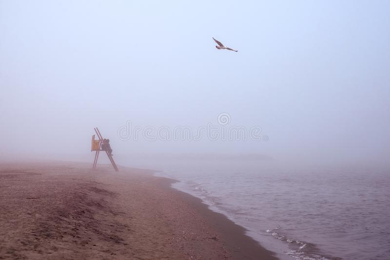 Koppla ihop att beundra havet till och med ogenomskinligheten arkivfoton