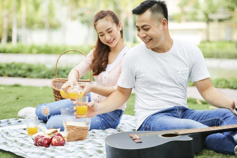 Koppla ihop att dricka fruktsaft på picknick royaltyfria bilder