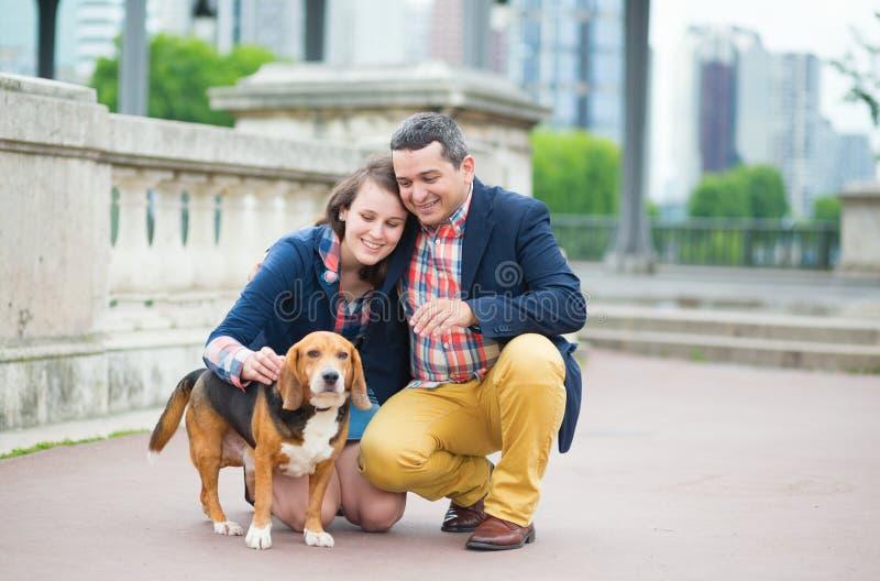 Koppla ihop att gå med en hund i en stad royaltyfri fotografi