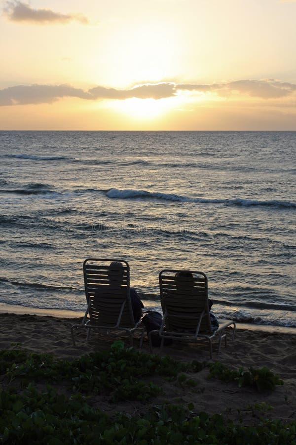 Koppla ihop att hålla ögonen på solnedgången royaltyfri fotografi