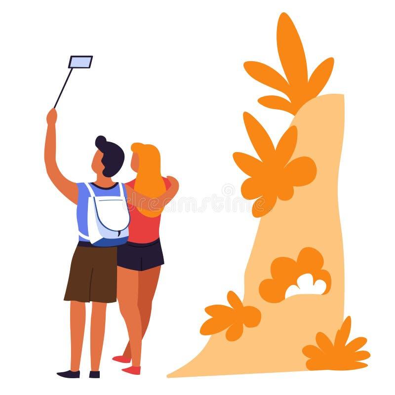 Koppla ihop att resa ta selfieman- och kvinnahandelsresande vektor illustrationer