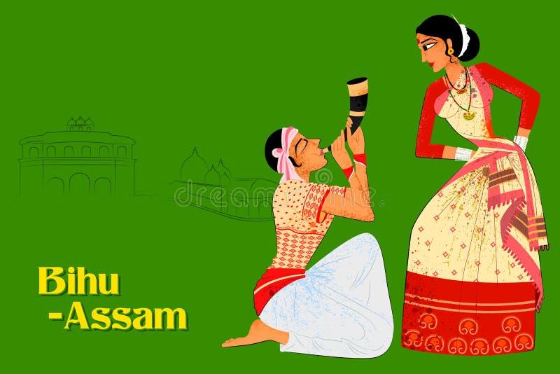 Koppla ihop att utföra den Bihu folkdansen av Assam, Indien vektor illustrationer