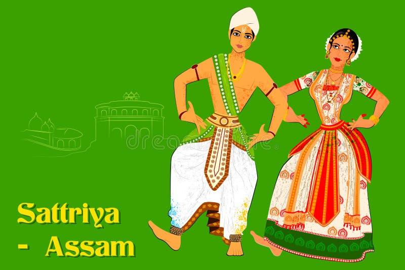 Koppla ihop att utföra Sattriya den klassiska dansen av Assam, Indien royaltyfri illustrationer