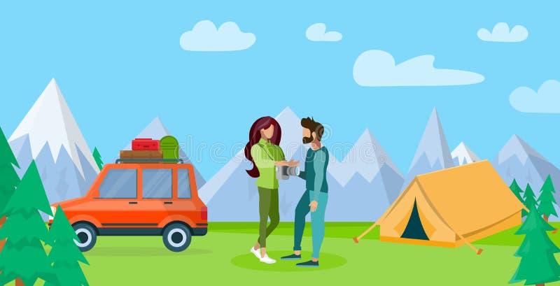 Koppla ihop att vila i plan illustration för berg royaltyfri illustrationer